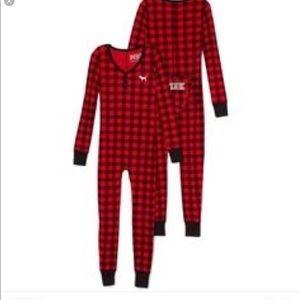 Red plaid onesie pajama